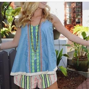 Judith March Aztec chambray denim romper large